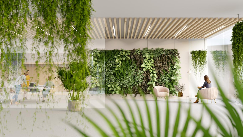 green modern office lobby